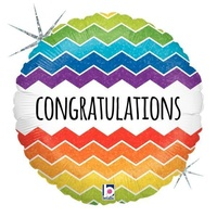 22cm Congratulations Chevron Holographic Foil Balloon #2532172 - Each (FLAT, unpackaged, requires air inflation, heat sealing)