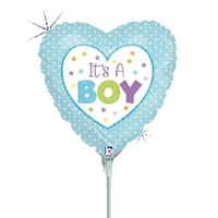 10cm Baby Boy It's A Boy Dots Holographic Foil Balloon #2581898 - Each (FLAT, unpackaged, requires air inflation, heat sealing)