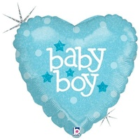 22cm Baby Boy Heart Holographic Foil Balloon #2582601 - Each (FLAT, unpackaged, requires air inflation, heat sealing)