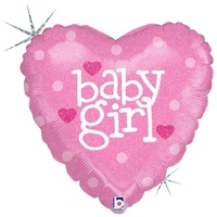 22cm Baby Girl Heart Holographic Foil Balloon #2582602 - Each (FLAT, unpackaged, requires air inflation, heat sealing)